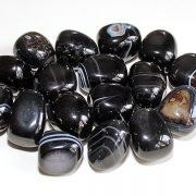 Highly polished Black Banded Agate tumble stone size 2-3 cm.