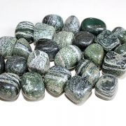Highly polished chrysotile tumble stone size 2-3 cm.