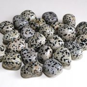 Highly polished Dalmatian Jasper tumble stone size 2-3 cm.