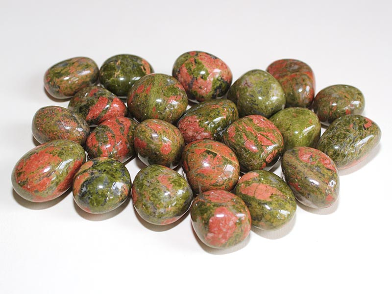 Highly polished Unakite tumble stone size 2-3 cm.
