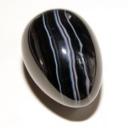 Highly polished Black Banded Agate egg approx height 45 mm.