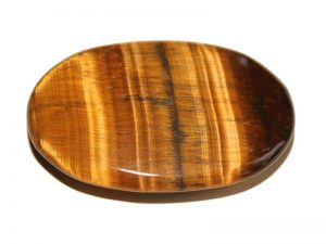 Highly polished Golden Tiger Eye palm stone 70 x 50 mm.