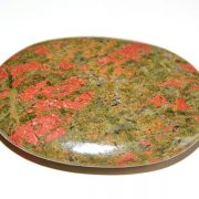 Highly polished Unakite palm stone 70 x 50 mm.