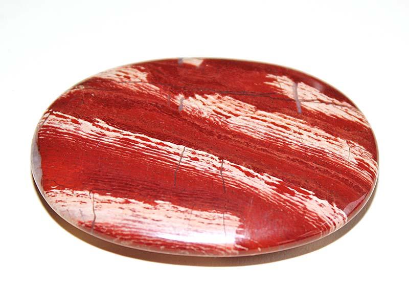 Highly polished Snakeskin Jasper palm stone 70 x 50 mm.