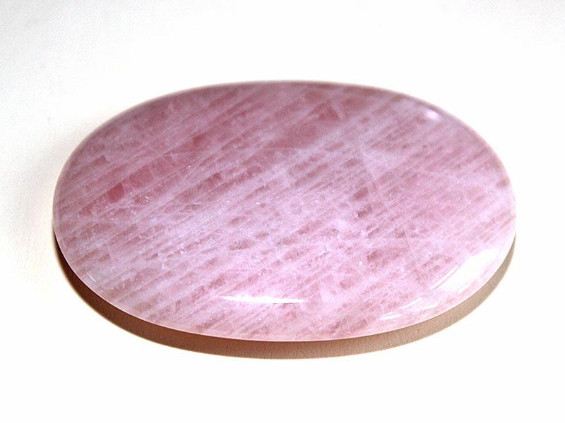 Highly polished Rose Quartz palm stone 70 x 50 mm.