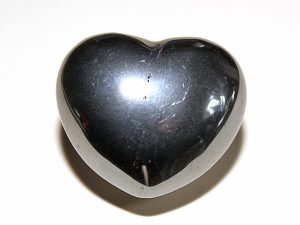 Highly polished Hematite Heart approx 45 mm.