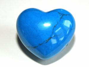 Highly polished Blue Howlite Heart approx 45 mm.