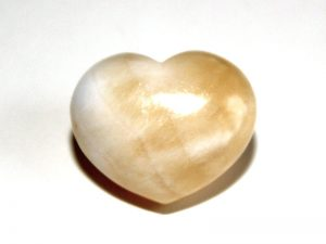 Highly polished Calcite Orange Heart approx 30 mm.