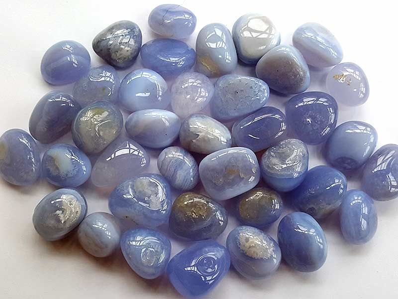 Highly polished Blue Lace Agate stone size 20-30 mm.