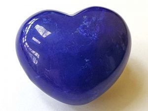 Highly polished Howlite Lapis Blue Heart approx 45 mm.