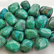 Highly polished Malachite and Chrysocolla tumble stone size 2-3 cm.