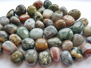 Highly polished Ocean Jasper tumble stone size 2-3 cm.