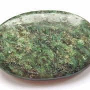 Highly polished Chrome Mica palm stone 70 x 40 mm.