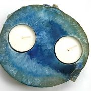 Agate slice tealight polished to show the attractive concentric banding. Width 120 mm x 110 mm x Depth 20 mm. www.naturalhealingshop.co.uk based in Nuneaton for crystals, spiritual healing, meditation, relaxation, spiritual development,workshops.