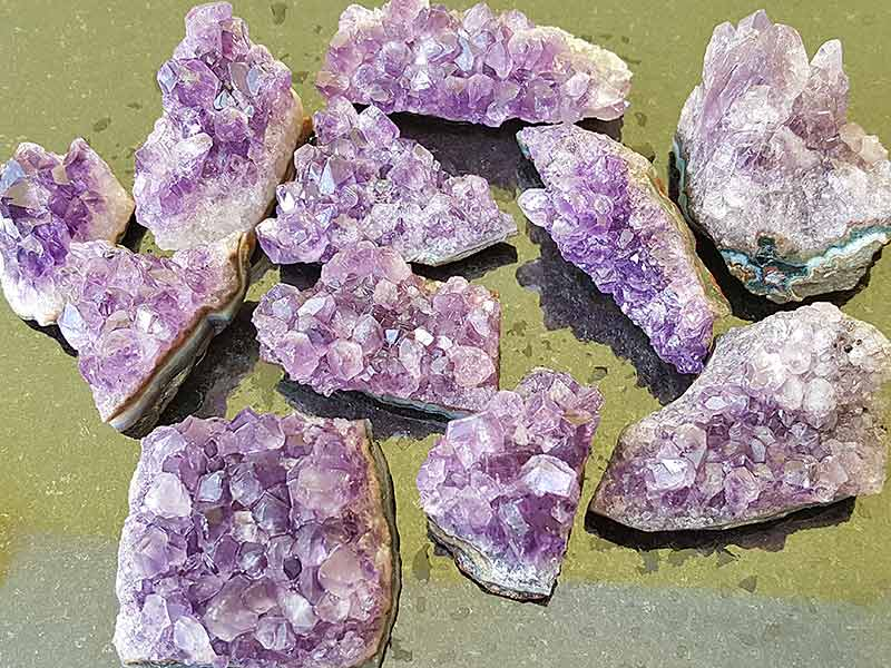 Amethyst clusters approx sizes 30-40 x 20-30 mm. Being a natural product this crystal may have natural blemishes. www.naturalhealingshop.co.uk based in Nuneaton for crystals, spiritual healing, meditation, relaxation, spiritual development,workshops.