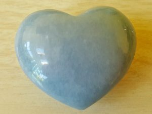 Highly polished Angelite Heart approx 45 mm. These hearts are perfect for a gift! There are purple velvet pouches or organza bags you can purchase to pop them into for the finishing touch. Being a natural product these stones may have natural blemishes and vary in colour and banding. www.naturalhealingshop.co.uk based in Nuneaton for crystals, spiritual healing, meditation, relaxation, spiritual development,workshops.