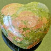 Highly polished Unakite Heart approx 45 mm. These hearts are perfect for a gift! There are purple velvet pouches or organza bags you can purchase to pop them into for the finishing touch. Being a natural product these stones may have natural blemishes and vary in colour and banding. www.naturalhealingshop.co.uk based in Nuneaton for crystals, spiritual healing, meditation, relaxation, spiritual development,workshops.