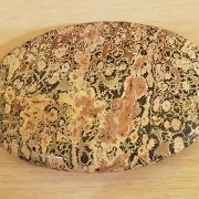 Highly polished Leopardskin Jasper palm stone 70 x 40 mm. The palm stones are made from the best grade rough materials to produce a well finished, highly polished product. Used by crystal healers and general therapists for massage and similar treatments. Also perfect for collectors. Being a natural product these stones may have natural blemishes and vary in colour and banding. www.naturalhealingshop.co.uk based in Nuneaton for crystals, spiritual healing, meditation, relaxation, spiritual development,workshops.