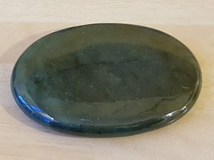 Highly polished Bloodstone palm stone 70 x 40 mm. The palm stones are made from the best grade rough materials to produce a well finished, highly polished product. Used by crystal healers and general therapists for massage and similar treatments. Also perfect for collectors. Being a natural product these stones may have natural blemishes and vary in colour and banding. www.naturalhealingshop.co.uk based in Nuneaton for crystals, spiritual healing, meditation, relaxation, spiritual development,workshops.