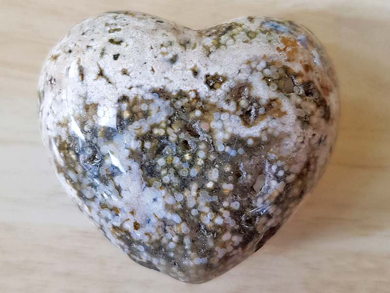 Highly polished Ocean Jasper Heart approx 45 mm. These hearts are perfect for a gift! There are purple velvet pouches or organza bags you can purchase to pop them into for the finishing touch. Being a natural product these stones may have natural blemishes and vary in colour and banding. www.naturalhealingshop.co.uk based in Nuneaton for crystals, spiritual healing, meditation, relaxation, spiritual development,workshops.