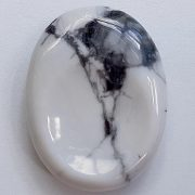 Highly polished Howlite thumb stone 40 x 30 mm. The thumb stones have been designed to have a pleasing feel with the highest quality finish. They are shaped to fit beautifully between the thumb and fingers. Being a natural product these stones may have natural blemishes and vary in colour and banding. www.naturalhealingshop.co.uk based in Nuneaton for crystals, spiritual healing, meditation, relaxation, spiritual development,workshops.