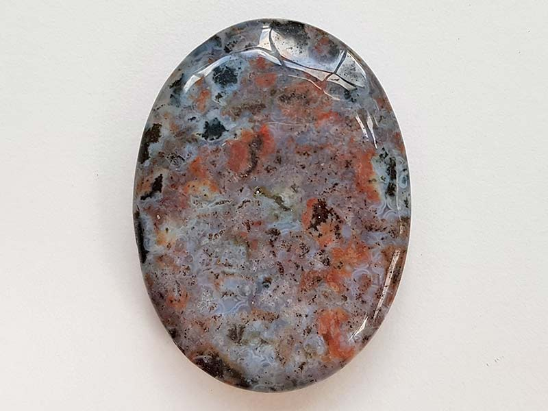 Highly polished Ocean jasper thumb stone 40 x 30 mm. The thumb stones have been designed to have a pleasing feel with the highest quality finish. They are shaped to fit beautifully between the thumb and fingers. Being a natural product these stones may have natural blemishes and vary in colour and banding. www.naturalhealingshop.co.uk based in Nuneaton for crystals, spiritual healing, meditation, relaxation, spiritual development,workshops.
