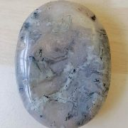 Highly polished moss agate thumb stone 40 x 30 mm. The thumb stones have been designed to have a pleasing feel with the highest quality finish. They are shaped to fit beautifully between the thumb and fingers. Being a natural product these stones may have natural blemishes and vary in colour and banding. www.naturalhealingshop.co.uk based in Nuneaton for crystals, spiritual healing, meditation, relaxation, spiritual development,workshops.