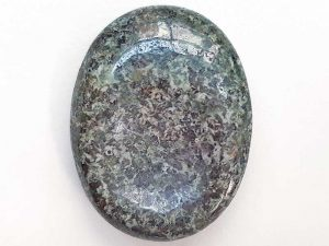 Highly polished Preseli Bluestone thumb stone 40 x 30 mm. The thumb stones have been designed to have a pleasing feel with the highest quality finish. They are shaped to fit beautifully between the thumb and fingers. Being a natural product these stones may have natural blemishes and vary in colour and banding. www.naturalhealingshop.co.uk based in Nuneaton for crystals, spiritual healing, meditation, relaxation, spiritual development,workshops.