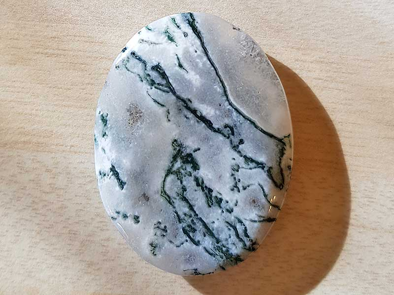 Highly polished Jasper tree thumb stone 40 x 30 mm. The thumb stones have been designed to have a pleasing feel with the highest quality finish. They are shaped to fit beautifully between the thumb and fingers. Being a natural product these stones may have natural blemishes and vary in colour and banding. www.naturalhealingshop.co.uk based in Nuneaton for crystals, spiritual healing, meditation, relaxation, spiritual development,workshops.