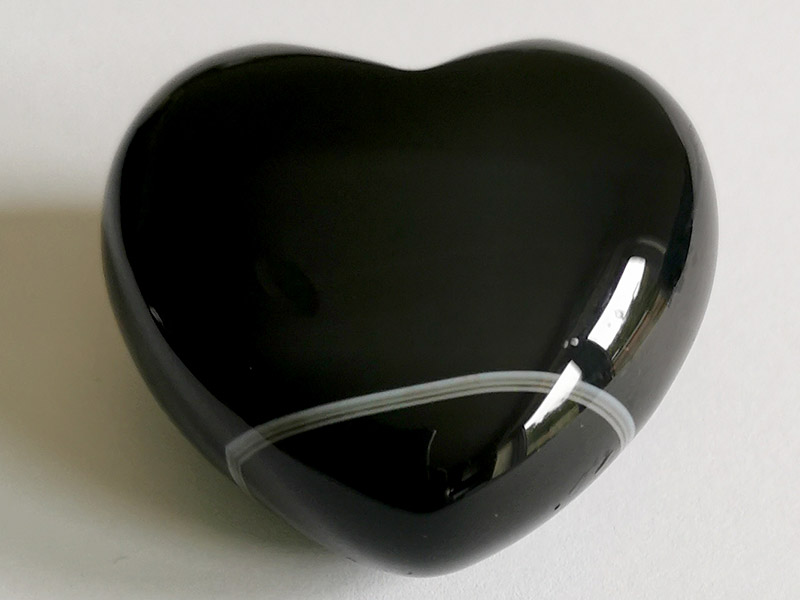 Highly polished Black Banded Agate Heart approx 45 mm. www.naturalhealingshop.co.uk based in Nuneaton for crystals, spiritual healing, meditation, relaxation, spiritual development,workshops.